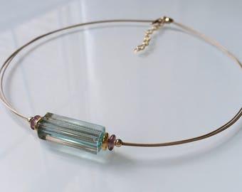 """Murano Glass Modern Necklace """" Light Aqua"""".  Aquamarine Glass Necklace. Venetian Glass Necklace. Italian Glass. Contemporary Necklace"""