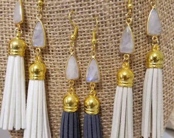 Moonstone Earrings | Tassel Earrings | Dark Grey Earrings