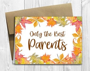 PRINTED CUSTOM Only the Best Parents Get Promoted to Grandparents -  Pregnancy Announcement 5x7 Greeting Card - Autumn Fall Flowers