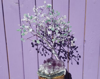 Green Aventurine Decor, Amethyst Cluster, Rose Quartz Chips, Crystal Decoration, Tree of Life, Gemstone Tree, Spiritual Gift, Semi-precious