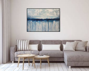 Large Abstract Canvas Art/ Seascape Original Abstract Acrylic Painting On  Canvas Coastal Wall Art Textured Part 46