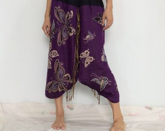 Touch Soft Silk..Purple Soft Silk Harem Pants with Butterfly patterned (HR-602)