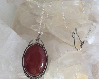 Carnelian and sterling silver necklace, industrial jewelry, tomato red chalcedony quartz pendant