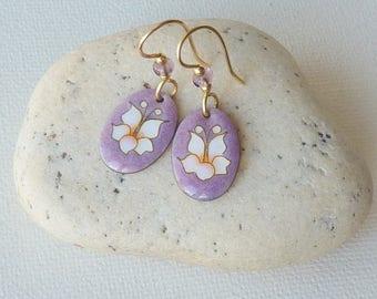 Gold Fill Ceramic Earrings Flower  Dangle Pierced Earrings  Purple Oval Floral Retro Gold  70's Jewelry, Costume Jewelry Flower Jewelry