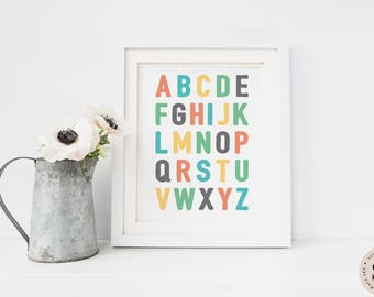 Alphabet Print — Nursery Alphabet Print ABC Letters Print Alphabet Colorful Print Children Printable Wall Art Poster Print INSTANT DOWNLOAD