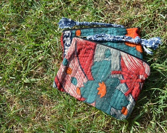 Vintage KANTHA handmade jewellery POUCH / cosmetics toiletries travel bag / UNISEX purse with tassel / teal green orange red Set of 2