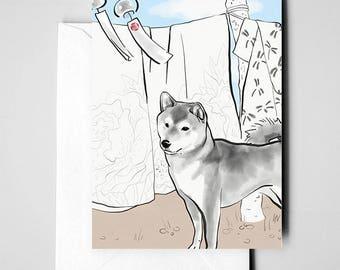 Shiba Inu Japan, International Doggy Sumi-e Painting Print Illustration Asian Japanese Kimono Zen Art Cute Ink Drawing Dog Love