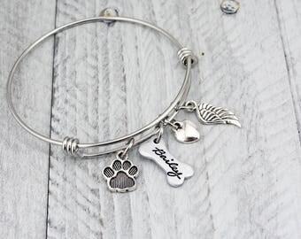 Dog Memorial Bracelet - Pet Loss Gift - Dog Remembrance Jewelry - Pet Memorial Jewelry - Dog Memorial Jewelry - Custom Pet Memorial Bracelet