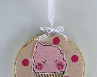 Hoop decorative ice cream pink Mrs. Soft, cream soft Strawberry embroidery hoop, wall decor room decor, kids baby room
