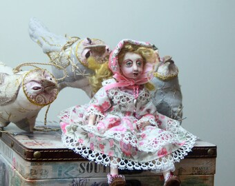 Handmade Collectible Unique Art Doll, OOAK Doll, Fantasy Creature  Clay Poseable Art doll, Folk Art Doll 9 inch