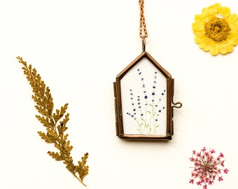 lavender necklace flower jewelry watercolor necklace flower necklace copper necklace watercolor lavender pendant picture frame necklace