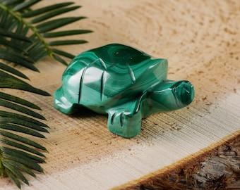 Small MALACHITE Stone Turtle Carving - Malachite Crystal Turtle, Green Turtle, Malachite Turtle Figurine, Malachite Stone Carving E0578