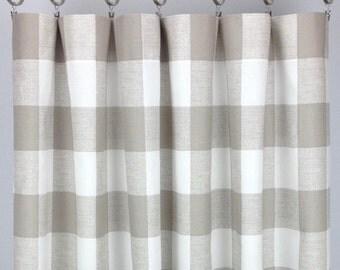Beige Buffalo Check Curtains - FREE SHIPPING - Ecru Plaid Check - Sand Gingham Drapes - Plaid Drapery - Rod-Pocket -24 50 x 63 84 96 108 120