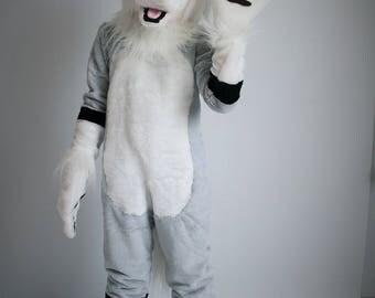 Wolf fursuit for kids, wolf mascot costume, wolf fursuit