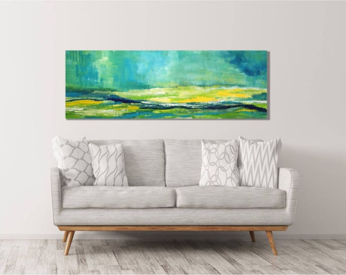 Large Horizontal Painting- Landscape by Debby Neal, Wall Art, Organic Yellow Wildflowers, Spring, large 20x60 Canvas Wrap Art Prints Decor