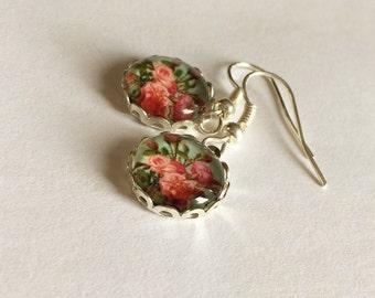 Vintage Flower Earrings, Flower Earrings, Pink Flower Earrings, Vintage Earrings, Vintage Rose Earrings