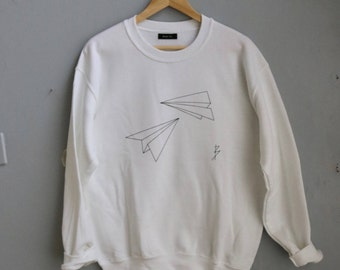 Sale!! Origami Mother's Day Gift - Paper Plane Sweatshirt - Bright White