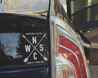 Winston Salem Sticker, North Carolina Sticker, Winston Salem Decal, Winston Salem, NC, North Carolina, Yeti Decal, Car Decal, Car Sticker,
