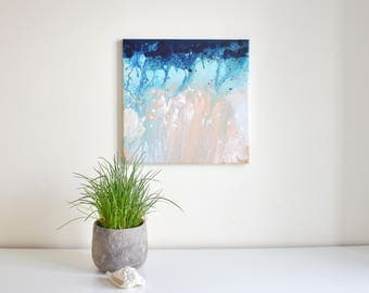Abstract painting 'approach the coast', ORIGINAL, acrylic on canvas, free shipping, Ocean, sea, coast, sand, landscape, blue, beige