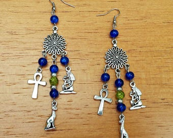 earrings egyptian ancient egypt ankh cross goddess bastet bast cat goddes isis cleopatra silver pagan occult wicca esoteric witch boho
