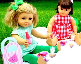 American Girl Picnic Accessories 18 Inch Doll Picnic Summer Party Set: Sandwiches, Plates, Cups, Lemonade, Fruit, Napkins, Picnic Tote for 2