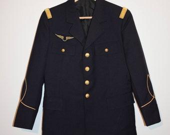 French vintage air force officer uniform / jacket/jacket / uniform vintage army air French wool/wool/Blue/Navy/dark blue/S/M