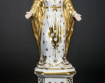 Beautiful French Antique Vieux Old Paris Porcelain Madonna Statue Virgin Mary 1