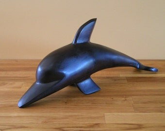 Large Vintage Hand-Carved Ironwood Dolphin Figure for Nature Lover Seaside Ocean Beach Nautical Décor