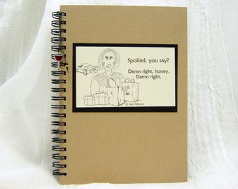Spoiled Shelly Embellished  5x7 Funny Notebook with Red Wine Charm