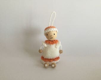 Room decoration to hang doll Ecru and orange Deco Fun Boy teen - acrylic - Sweet Home - Funny House wire Crochet gold Christmas Tree