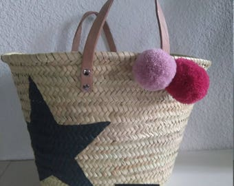 Large basket tassel star/beach bag