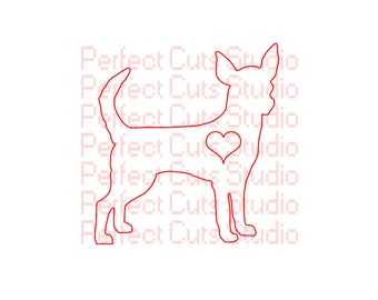 Chihuahua Love SVG & Studio 3 Cut File for Cricut Silhouette Brother Files Downloads I Love Heart SVGs Decal Cutouts Stencil Digital Lovers