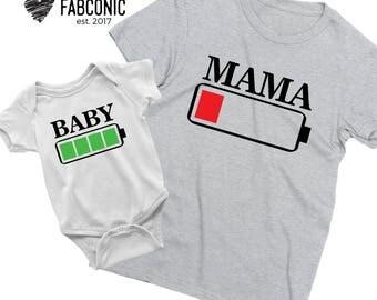 Mama Battery Low Shirt, Battery family shirts, Low battery mom baby shirts, Mommy baby battery shirts, Matching shirts mommy baby