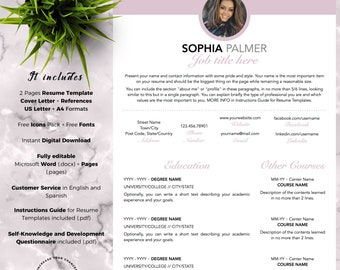 Modern and Professional Resume Template CV for Word and Pages (2 Pages + Cover Letter + References + Fonts + Icons) Instant Download