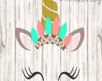 Unicorn with Indian Feathers SVG, Indian Unicorn SVG, Unicorn SVG
