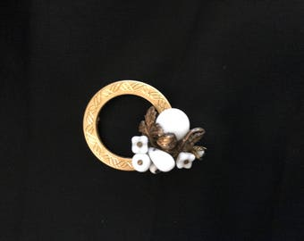 Vintage gold tone circle bar pin repurposed with Miriam Haskell-style white glass flower earring attached