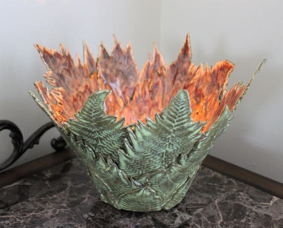 Anniversary - Wedding Gift - Large Vase - Fern Leaf Pottery - Dinning Room Centerpiece - Candle Holder - Stoneware Pottery - Free Shipping