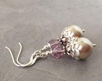 Beige Pearl Dangle Earrings with Lilac Shadow Crystals, Beige and Dusky Purple Bridesmaid Earrings, Pearl Bridal Jewelry, Pearl Drop Earring