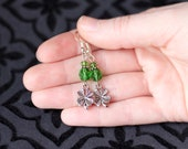 Silver Clover Earrings, St. Patrick's Day Earrings, Spring Green Earrings, Lucky 4 Four Leaf Clover, Green Vintage Glass Crystal Earrings
