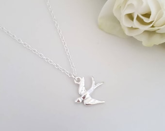 Swallow pendant etsy sterling silver swallow necklace swallow pendant bird necklace bird jewellery woodland mozeypictures Gallery