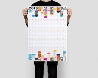 2018 Wall Planner, Year Organiser, Wall Calendar, Business Planner, Modern Calendar, 2018 Planner
