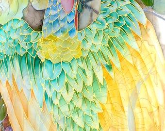 Phoenix Scarf, Hand Painted Silk Shawl Wrap, One of a kind, Japanese Scarf, Unique Gift, Bird Painting, Phoenix Bird Scarf, Chiffon Scarf,