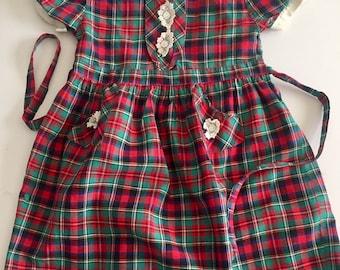 Vintage 1950s Girls' Red Green Blue Plaid Short Sleeve Dress 4 5