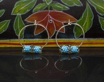 """Turquoise Beaded Hoops, Sterling Silver Hoop Earrings, Turquoise Earrings, Seed Bead Earrings, 1"""" Hoop Earrings, Woven Earrings, Small Hoops"""