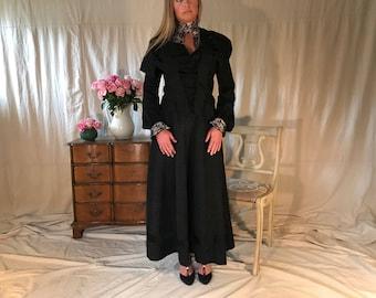 Antique Formal Black Dress, Black Brocade and Lace, 4 Piece, Skirt, Jacket, Victorian Era