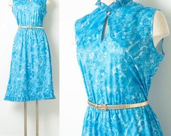 60s Dress, Vintage Blue Dress, Blue Sleeveless Dress,Vintage Floral Dress,Vintage Ruffle Dress,Vintage pleated dress,Blue floral dress - M/L