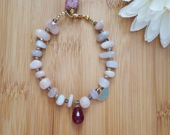 Moonstone Bracelet, Moonstone Jewelry, Raw Ruby, Beaded Bracelet, Gemstone Bracelet, Crystal Bracelet, Bohemian Bracelet, Gift For women