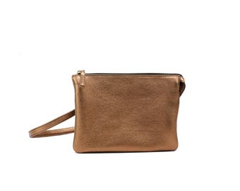 VERO - Double Compartment Leather CrossBody Bag - COPPER