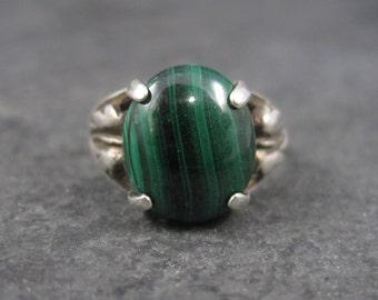 Vintage Sterling Malachite Leaf Ring Size 4.5