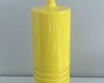 Large Yellow Ribbed Ceramic Table Lamp, 70's Vintage Midcentury Modern